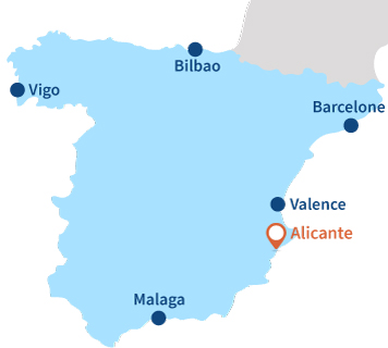 Localisation d'Alicante en Espagne