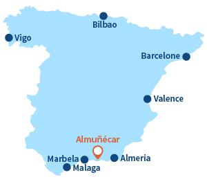 Localisation d'Almunecar en Andalousie - Espagne