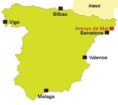 Localisation d'Arenys de Mar en Espagne