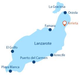 Localisation d'Arrieta à Lanzarote