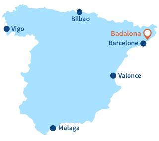 Localisation de Badalona en Espagne