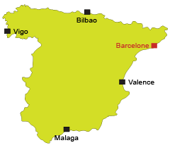 Localisation de Barcelone en Espagne