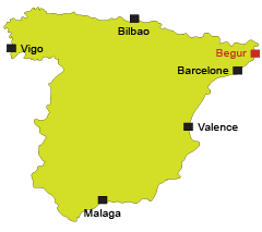 Map of Begur in Spain on the Costa Brava