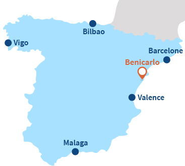 Localisation de Benicarlo en Espagne