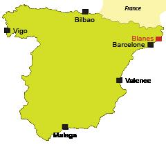 Localisation de Blanes en Espagne