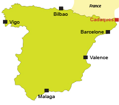 Localisation de Cadaques en Espagne