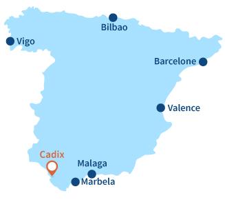 Localisation de Cadix en Espagne