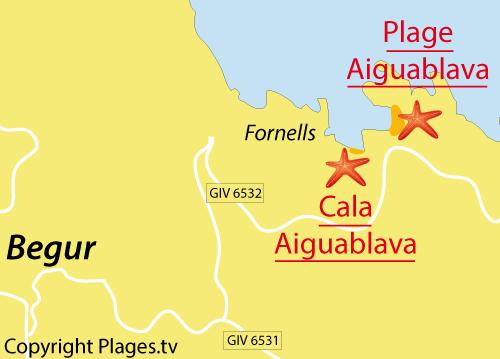 Carte de la Cala Aiguablava à Bégur