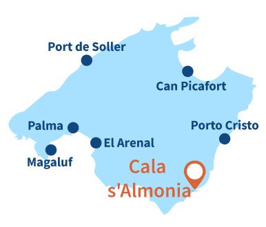 Carte de la plage de Cala Almonia à Majorque