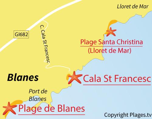 Carte de la plage de Cala de St Francesc - Bona à Blanes