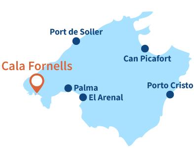Localisation de Cala Fornells à Majorque