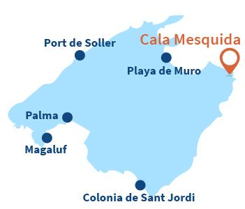Localisation de Cala Mesquida à Majorque