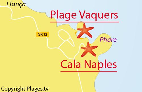 Carte de la Cala de Naples à El Port de la Selva