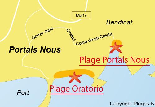 Carte de la plage de Cala Nous à Bendinat - Majorque