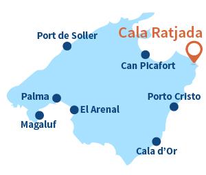 Carte de la Cala Ratjada à Majorque