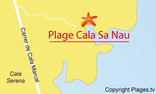 Carte de la Cala Sa Nau à Portocolom - Majorque