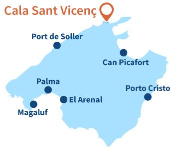 Ou se trouve Cala Sant Vincenç à Majorque