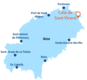 Carte de la Cala de Sant Vicent à Ibiza
