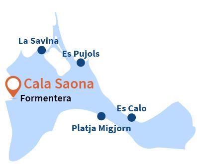 Localisation de Cala Saona à Formentera