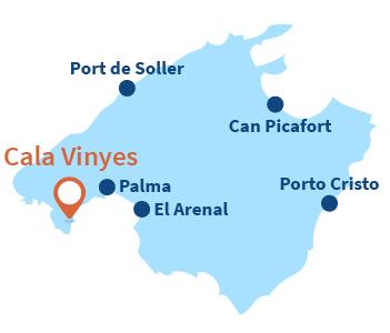 Localisation de Cala Vinyes à Majorque
