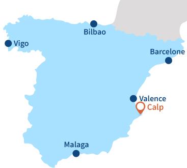 Localisation de Calp en Espagne - Alicante