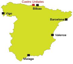 Localisation de Castro Urdiales en Espagne en Cantabrie