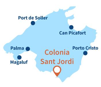 Localisation de Colonia de Sant Jordi sur l'ile de Majorque