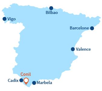 Localisation de Conil en Andalousie - Espagne