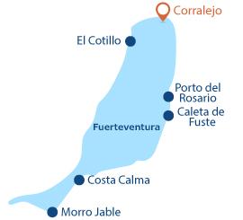 Localisation de Corralejo à Fuerteventura dans les iles canaries