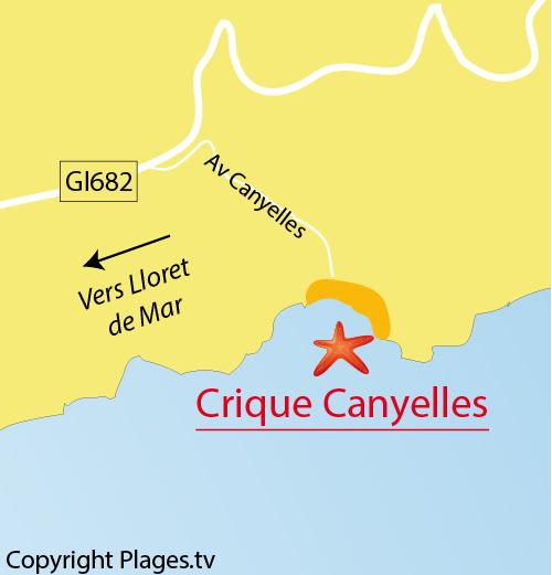 Map of Cala Canyelles Cove in Lloret de Mar in Spain