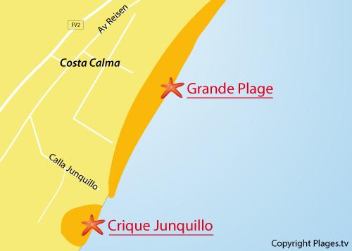 Carte de la crique de Junquillo à Costa Calma - Fuerteventura