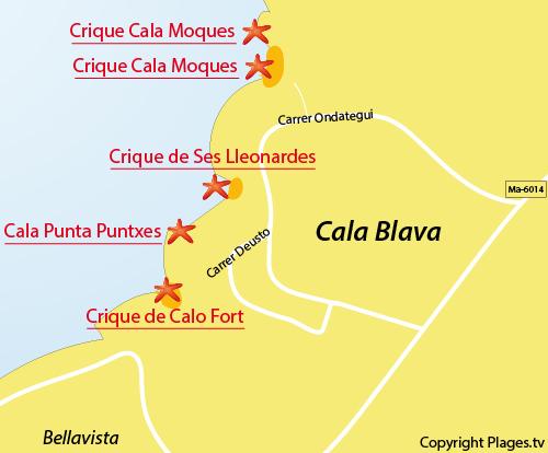 Carte de la crique Moques à Cala Blava - Majorques