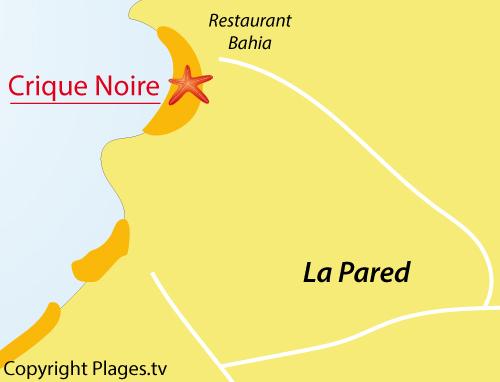 Carte de la crique noire à La Pared - Les Canaries