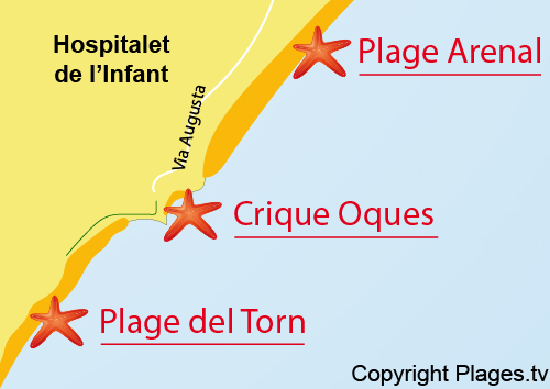 Carte de la crique Oques - Hospitalet de l'Infant
