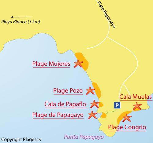 Carte de la crique de Papagoyo à Lanzarote