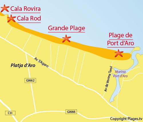 Carte de la crique de Rod à Platja d'Aro - Costa Brava