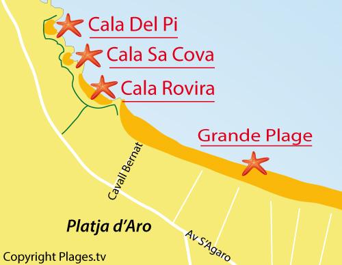 Carte de la crique de Sa Cova à Platja d'Aro