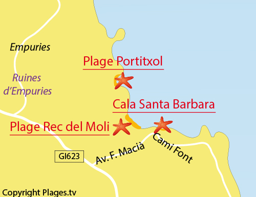 Carte de la crique de Santa Barbara à l'Escala