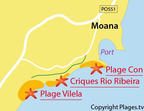 Carte des criques de Rio de Ribeira à Moana