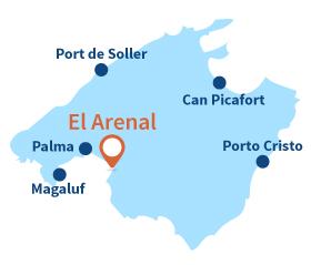 Localisation de El Arenal à Majorque - Iles Baléares