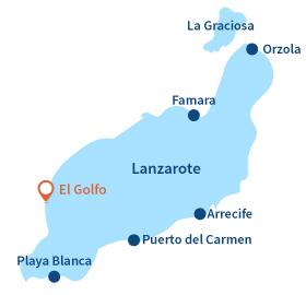 Localisation d'El Golfo à Lanzarote - Canaries