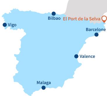 Localisation d'El Port de la Selva en Espagne sur la Costa Brava