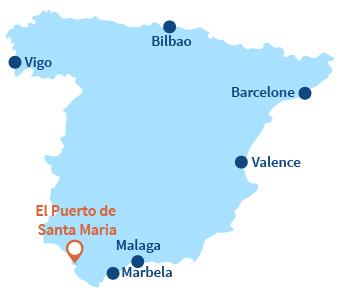 Localisation d'El Puerto de Santa Maria en Andalousie