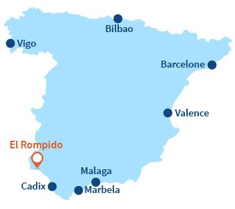 Localisation d'El Rompido en Andalousie - Espagne