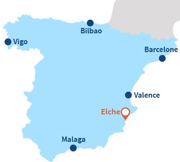 Localisation d'Elche et El Pinet en Espagne