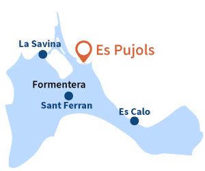 Localisation d'Es Pujols à Formentera - Espagne