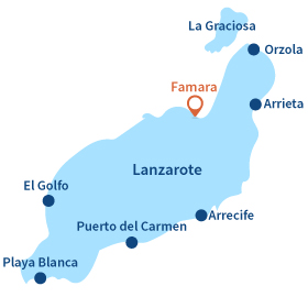 Location of Famara in the Canary Islands in Lanzarote
