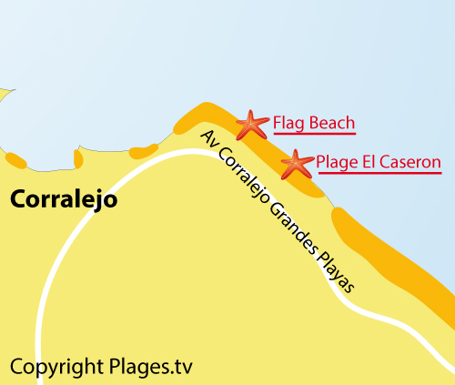 Carte de la plage Flag Beach à Corralejo - fuerteventura