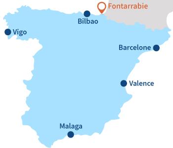 Carte de la plage de Fontarrabie en Espagne