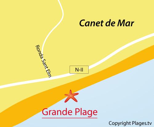 Carte de la Grande Plage de Canet de Mar